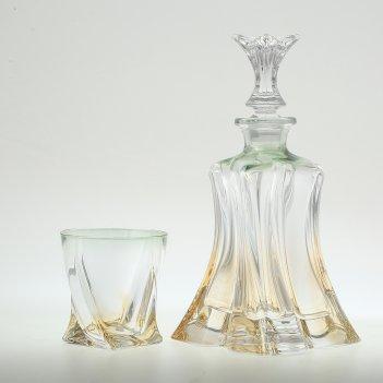 Набор для виски 7 предметов зеленая bohemia gold