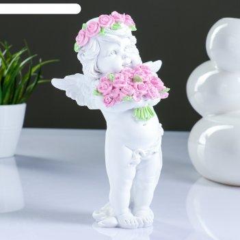 Фигура ангел с розами, 13х9х22см