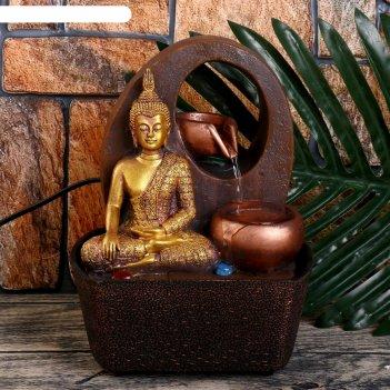 Фонтан настольный от сети, подсветка медитация будды у водопада 20х16х13 с