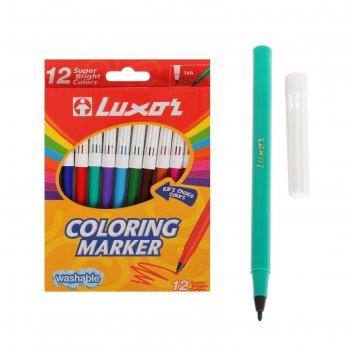 Фломастеры 12цв luxor coloring смываемые, картон, европодвес