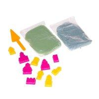 Песок для лепкизамки10 формочек + совок,песочница надув.цв.зел.и голуб.по