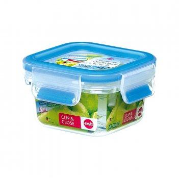 Контейнер пищевой 0,25л квадратный clip&close emsa, голубой