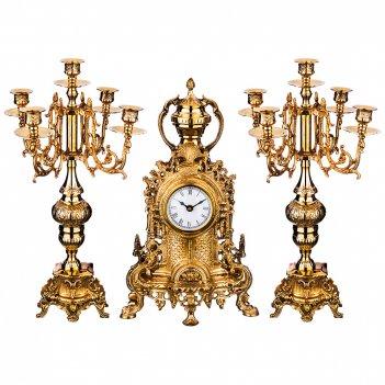 Набор каминный 3пр.: часы кварцевые настольные 22*9*39см циферблат 8см + 2