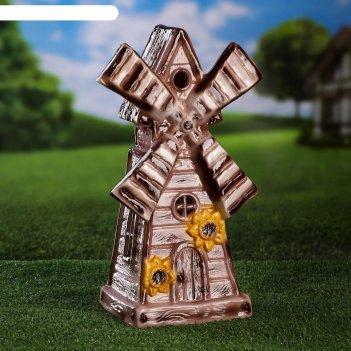 Садовая фигура-светильник мельница, коричневая, 40 см, без элемента питани