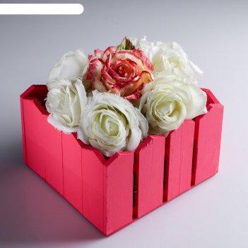 Ящик-кашпо подарочный заборчик, розовый