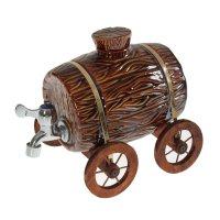 Бочка для напитков на колесах темно-коричневая глазурь, 4л