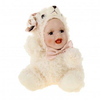 Кукла коллекционная керамика малыш в костюме мишки 24 см