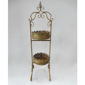 Этажерка 2-х ярусная для цветов  декоративная,  золотая патина