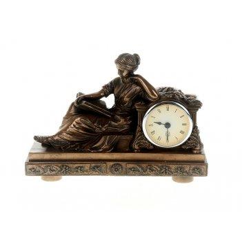 Часы настольные юная дева 23,5*9,5*17,5см. (часы-d=6,5см., бат
