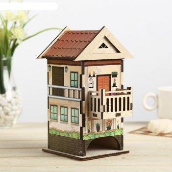 Чайный домик домик 2 цветной 12х13х19,5 см