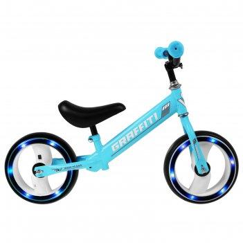 Беговел graffiti 10, колеса световые, цвет голубой