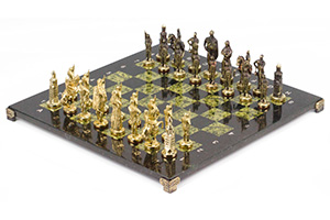 Шахматы русские бронза змеевик 40х40см