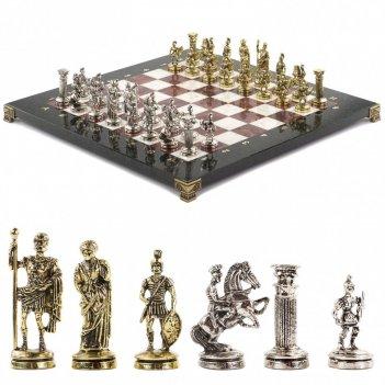 Шахматы настольные римские воины доска 36х36 см камень лемезит мрамор
