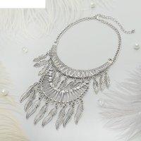 Колье египет, перышки двух-ярусное, цвет серебро