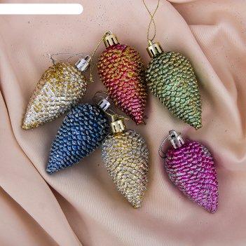 Украшение ёлочное шишки разноцветные (набор 6 шт) 3,5*6,5 см