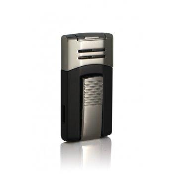 Зажигалка caseti газовая турбо, тёмная хромированная + чёрный