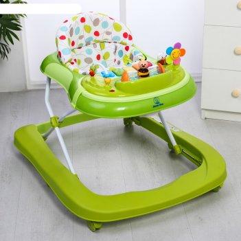 Ходунки бекки, 6 силиконовых колес, муз., свет, игрушки, цвет зеленый