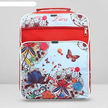Рюкзак школьный, 2 отдела на молниях, 2 наружных кармана, цвет красный/бел