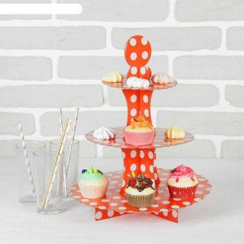 Подставка для пирожных трёхъярусная ласка, красный цвет