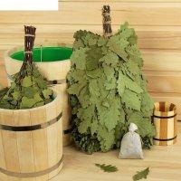 Веник для бани экстра из кавказского дуба + запарка эвкалипт (30гр)