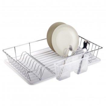 Сушилка для посуды и приборов, с поддоном, цвет хром, kb003