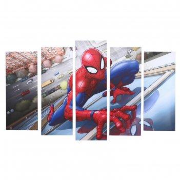 Модульная картина человек-паук на здании 125х80 см(2шт-25х63; 2шт-25х70; 2