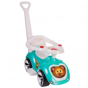 Ор809 каталка машинка с родительской ручкой мишка (lapa) цвет бирюзовый
