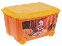 Ящик для игрушек на колесах маша и медведь с аппликацией, с крышкой, цвет
