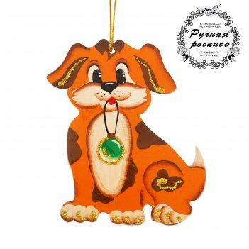 Фигурка плоская собачка с елочной игрушкой, ручная работа