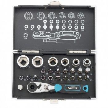 Набор бит и головок торцевых, 1/4, магнитный адаптер, сталь s2, пластиковы