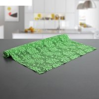 Коврик противоскользящий 45х100 см цветы, цвет зеленый