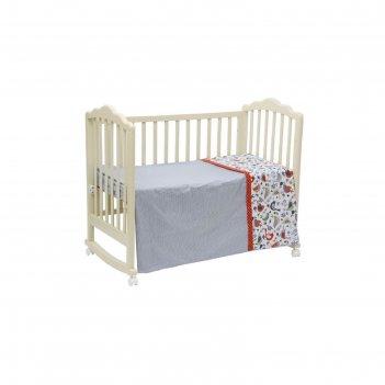 Комплект в кроватку «кантри», 7 предметов, цвет красный