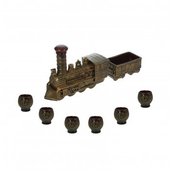 Штоф с рюмками паровоз набор 7 предметов, бронза
