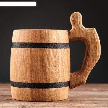 Кружка пивная деревянная октоберфест, 0,3 л, 1 сорт