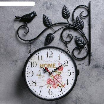 Часы настенные двойные, серия: садовые, птичка на ветке, чёрные, d=23 см