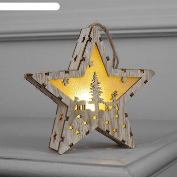 Фигура деревянная звезда  олень и елка, 14х13х3 см, бат (в компл.), 1 led