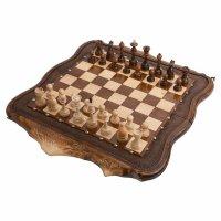 Шахматы + нарды резные арарат с бронзой 60, ohanyan