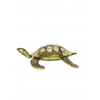Шкатулка черепаха морская латунь с перламутром 7,5