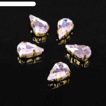 Стразы в цапах (набор 5 шт), 6*10мм, цвет розовый в золоте