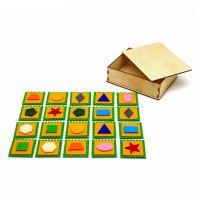 Мемо фигуры в деревянной коробочке, 20 шт.,5*5см. фетр  ф007