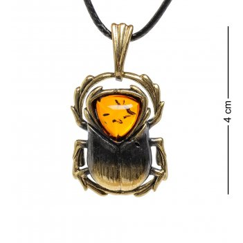 Am-1704 подвеска жук скарабей египетский (латунь, янтарь)