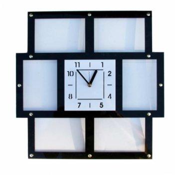 Часы парад мгновений с фоторамками 10х15см (6шт) 41х41см черные