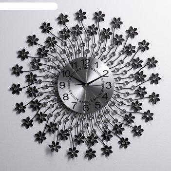 Часы настенные, серия: ажур, лучики гнутые с цветочками, чёрные, d=60 см