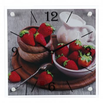 Часы настенные, серия: кухня, клубничное счастье, 35х35  см, микс