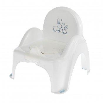 Горшок-стульчик музыкальный «кролики» с крышкой, антискользящий, цвет белы