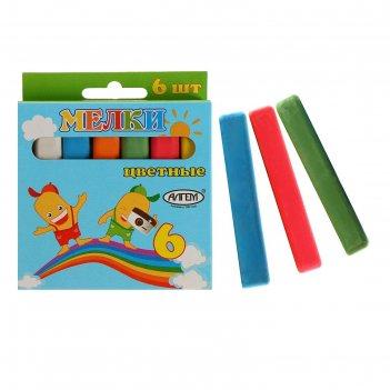 Мелки цветные «алгем», в наборе 6 штук, квадратные