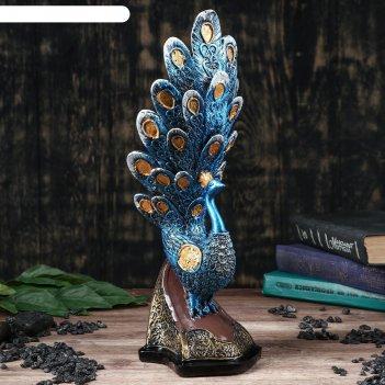 Статуэтка павлин 36 см, синий, микс
