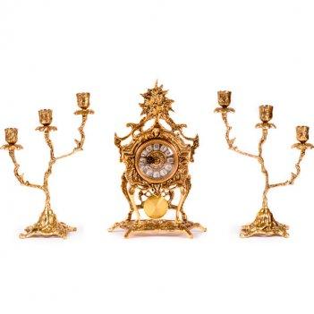 Часы каминные с маятником и канделябрами на 3 свечи, набор из 3 предм.
