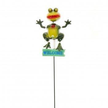 Декор садовый лягушка welcome, штекер 60 см, микс цвета