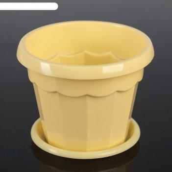 Горшок для цветов 0,7 л с поддоном эрика, цвет жёлтый